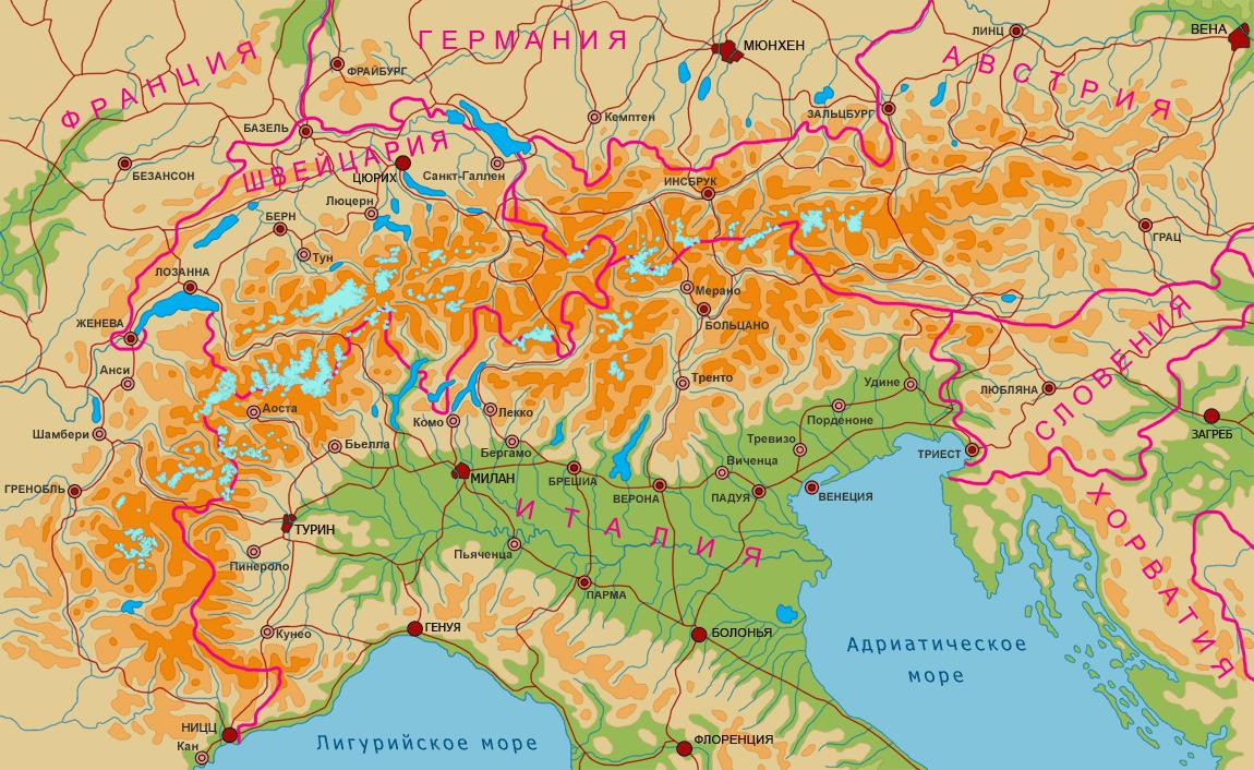 Обзорная физическая карта альп